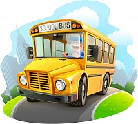 Cartoon School Bus Vector Illustrator