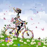 Colorful Spring Girl Silhouette