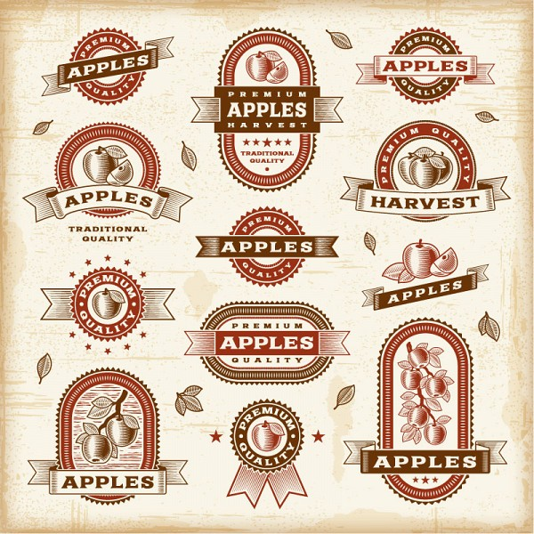 Apple Food Products Vector Labels