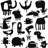 Cartoon Monsters Vector Silhouettes