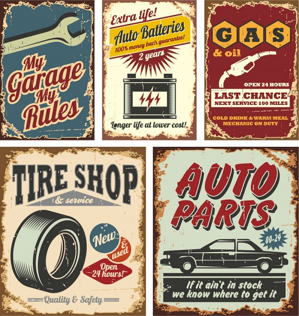 Vintage Car Themed Vector Posters