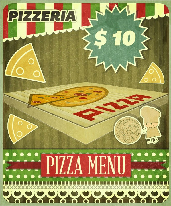 Creative Pizza Poster Vector Template