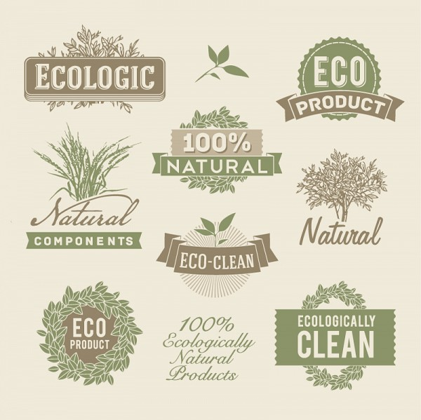 Retro Eco Labels Vector