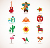Mexican Cartoon Vector Icons