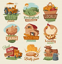 Creative Farm Stickers & Labels Vector