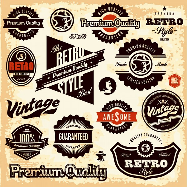 Retro style classic vector labels - Vintage style images ...
