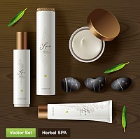 Herbal Spa Cosmetics Packaging Vector
