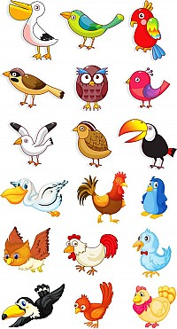 Cute Cartoon Vector Birds