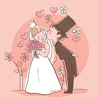 Cute Wedding Illustration Vector