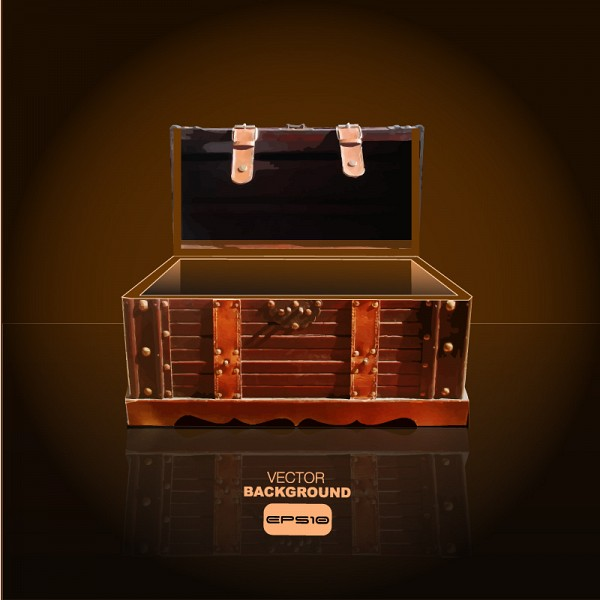 Wooden Treasure Chest Vector
