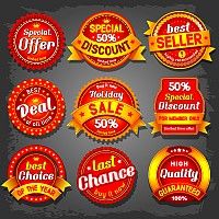 Red Sales & Discount Stickers Vector