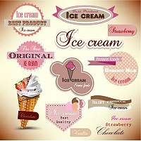 Delicious Ice Cream Vector Labels