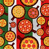 Seamless Pizza Vector Pattern