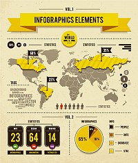 Worldmap Infograpic Vector Elements