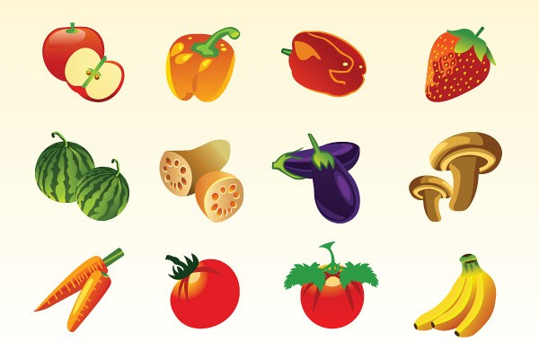 Various Fruits and Vegeatbles Vector