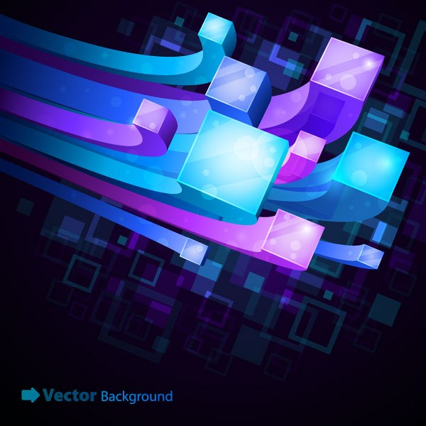 Abstract 3D Square Cabels Vector