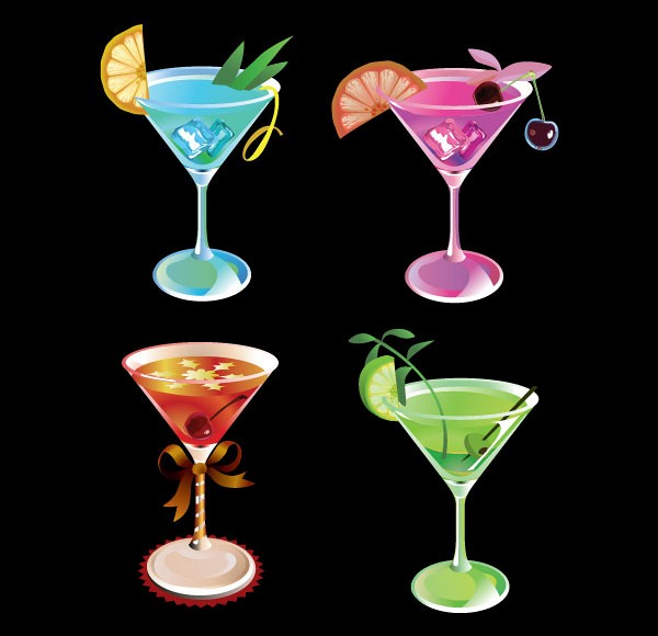 Fresh Martini Drinks Vector