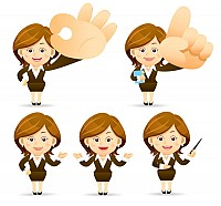 Elegan Business Woman Vector Cartoon