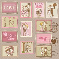 Wedding Postal Stamps Vector