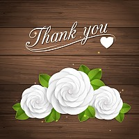 White Roses Thank You Card Vector