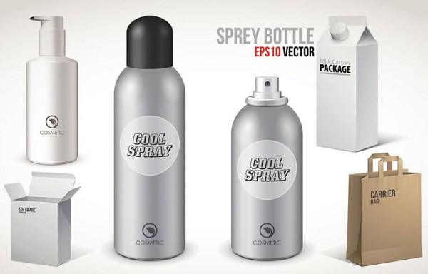 Packaging Spray Bottles Vector Template
