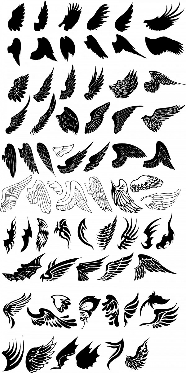 Vector Wings Silhouettes