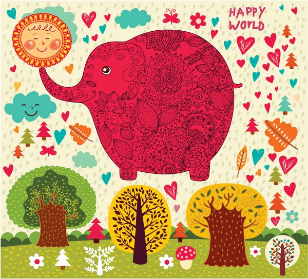 Pink Elephant Cartoon Illustration