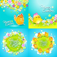 Colorful Easter Chicks Illustration