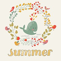 Cute Whale Summer Illustration
