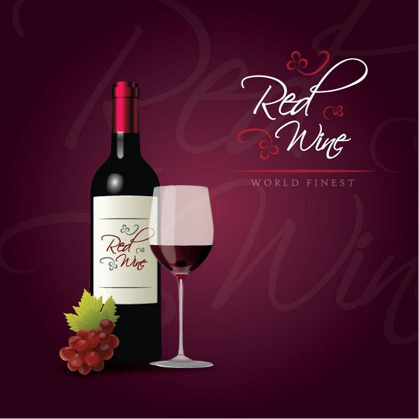 Elegant Red Wine Vector Illustration