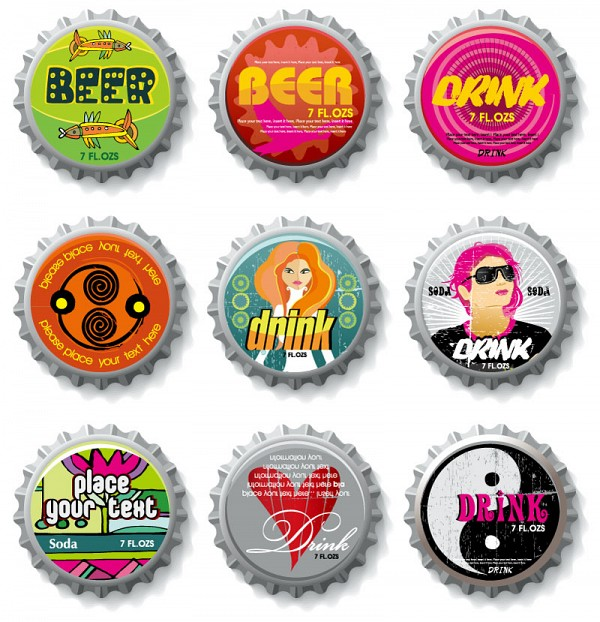 Funky Bottle Caps Vector