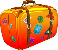 Cartoon Style Travel Suitcase Vector