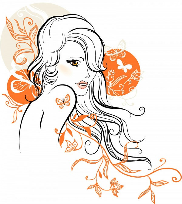 Line Drawn Pretty Girl Vector Drawing