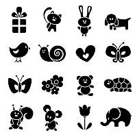 Cute Cartoon Animal Silhouettes