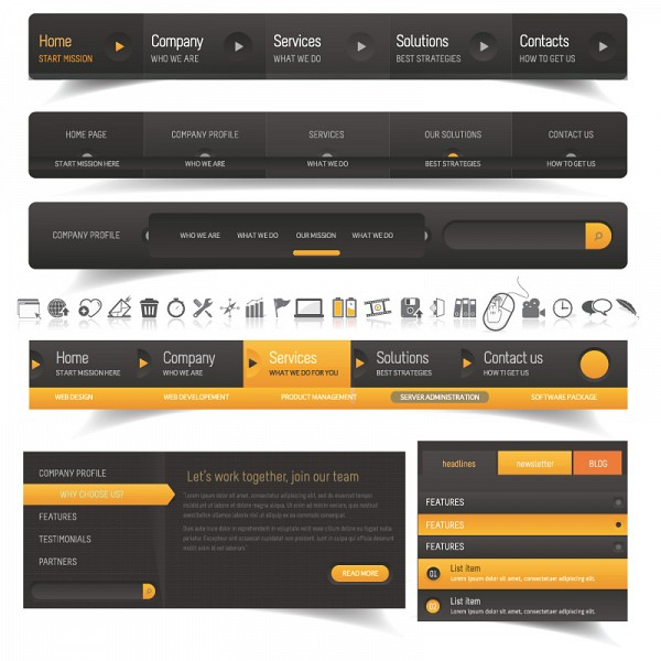 Modern Web Design Navigation Elements