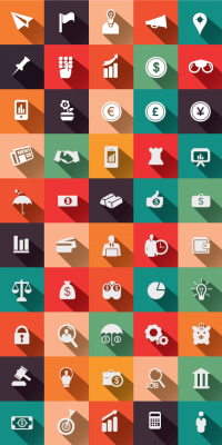 50 Financial & Business Flat Vector Icons