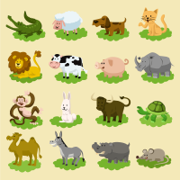 Cute Green Cartoon Animals