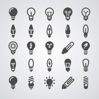 Various Light Bulb Vector Icons