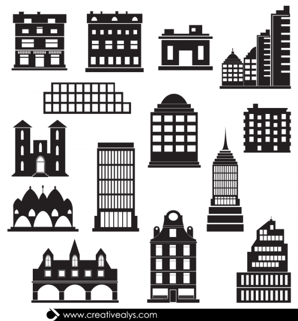 14 Vector Building Silhouettes