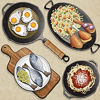 Frying Pan & Food Vector