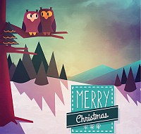 Snow Owl Christmas Vector Illustration