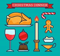 Christmas Dinner Vector Elements