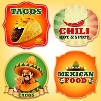 Mexican Food Vector Labels