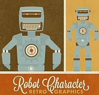 Retro Robot Vector Design