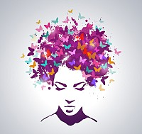 Abstract Butterfly Hair Vector
