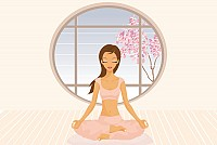 Meditating Yoga Girl Vector